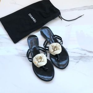 Authentic Chanel Jelly Camellia Thongs